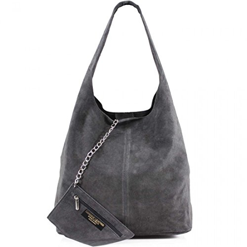 unbrand Ladies Women Real Suede Leather Hobo Shoulder Handbag (Dark Grey), - Hobo Suede Leather