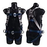 JINGYAT Fall Protection Full Body Safety Harness with One Dorsal Ring and 4 Side D-Rings,Universal Personal Protective Equipment,Belt (31.5 to 55 in)