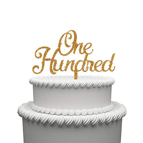 One Hundred Acrylic Cake Topper for 100 Years Old Birthday Or 100th Wedding Anniversary Party Decoration Supplies Gold by waway