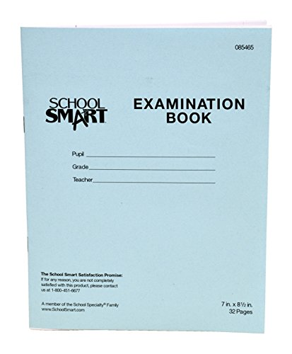 School Smart Examination Blue Book with 32 Pages, 7 x 8-1/2 Inches, Pack of 50 -