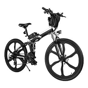 """41lSTcUGqUS. SS300 Bici Elettriche E-bike Folding Bike, 26"""" Ebike Uomini 250W Bici Elettrica con Batteria Rimovibile 8Ah, Shimano 21 Velocità, City Bike per Uomini e Donne"""