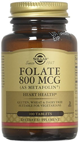 Solgar – Folate (as Metafolin) 800mcg Tablets, 100 Count, 2 Pack – Supports Heart and Nervous System Health