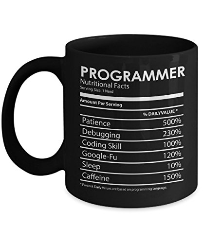 Funny Programmer Mug - Programmer Nutrition Facts, Unique Novelty Gag Gift Idea for Programmer, Coder, Men, Women, Developer, Office, Boss, Christmas, Xmas, Birthday Gift, 11oz Work Tea Cup, Sarcasm