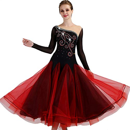 Foxtrot Tango Valse Lisse Compétition Red Danse Longue Performance s De Salon Wqwlf Manche Pour Justaucorps Robes Dancewear Femmes Costumes 1w1zaxpq