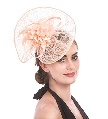 Pink Lace Hat - SAFERIN Fascinator Hat Feather Mesh Net Veil Party Hat Flower Derby Hat with Clip and Hairband for Women (TB2-Pink Lace)