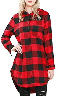 ililily Women Buffalo Plaid Checkered Hooded Shirt Button Down Longline Blouse