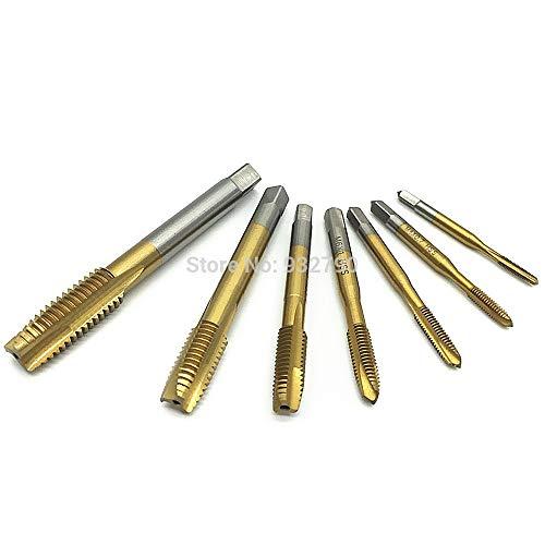 Meka-supplies - 7pcs Machine Spiral Point Plug Tap M3 M4 M5 M6 M8 M10 M12 Straight Flute Thread Machine Screw Tap 3mm-12mm Metric Plug Tap Drill