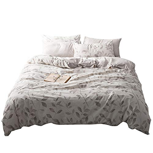 VM VOUGEMARKET Washed Cotton Duvet Cover Set Leaves Branch Pattern,Jersey Knit Cotton Bedding Set,King Size Home Bedding Set,Ultra Soft Comfy Zippered Luxury Comforter Cover with Corner Ties