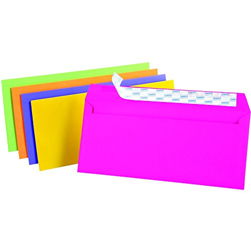 Staples EasyClose Neon Brights Color Envelopes, #10, Assorted, 4-1/8 inches x 9-1/2 inches, 50/pack
