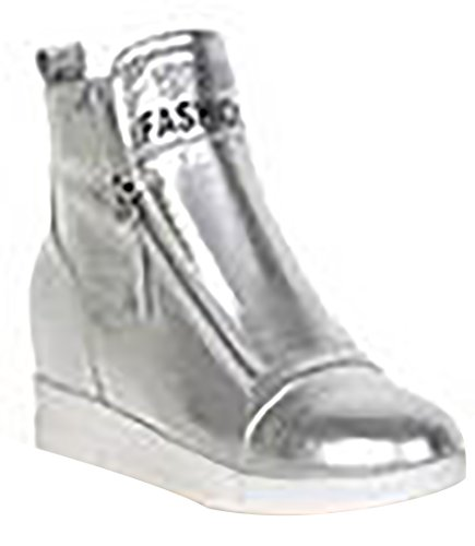 Laruise Women's Leather Bootie Silver 9S0aMQqQZ2
