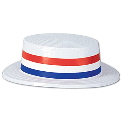 Pack of 24 Patriotic 4th of July Skimmer Party Hats with Red, White and Blue Striped Bands 3.25''