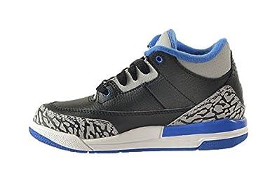 Jordan 3 Retro BP Little Kids Shoes BlackSport Blue Wolf Grey 429487 007
