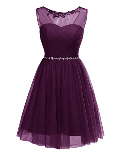 Grape Short Tulle Party Womens Prom Dress Homecoming Neck Crew ALAGIRLS Beaded Gowns PwItfwq