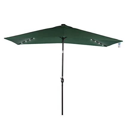 Elegant Sundale Outdoor Rectangular Solar Powered 22 LED Lighted Patio Umbrella  Table Market Umbrella With Crank And
