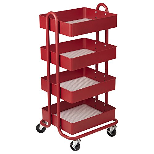 ECR4Kids 4-Tier Metal Rolling Utility Cart - Heavy Duty Mobile Storage Organizer, Red