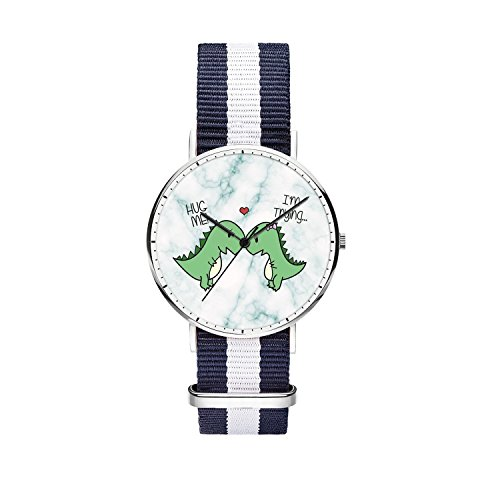 SunbirdsEast Marble Lovers Dinosaurs Watch Nylon Band For Women 36mm Analog Quartz Wrist Silver Unisex Stainless Steel Children Nylon Multi-Color Striped Band Watch -