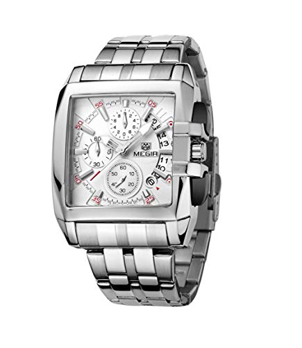 YSCysc Men's Business Sports Quartz Watch with Stainless Steel Strap Square Multifunction Fashion Outdoor Military Chronograph Calendar Date Casual Wrist for ()