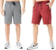 TEXFIT Men's 2-Pack Gym Shorts with Zipper Pockets, Athletic Shorts with Quick Dry Stretch Fabric (2pcs