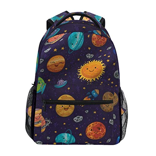 Women/Man Canvas Backpack Special Happy Space Cartoon Zipper College School Bookbag Daypack Travel Rucksack Gym Bag For Youth