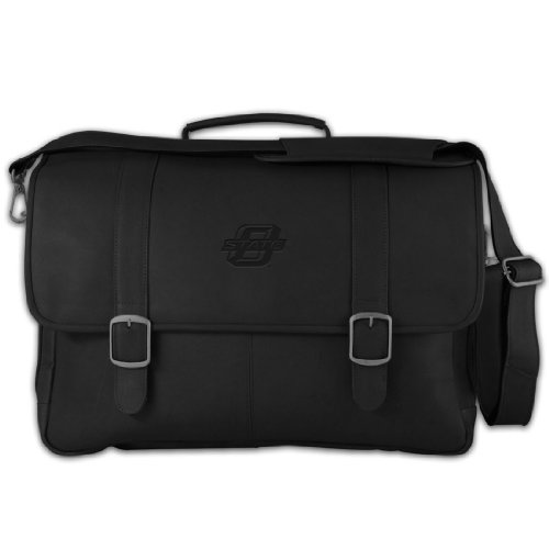 NCAA Oklahoma State Sooners Black Leather Porthole Laptop Briefcase