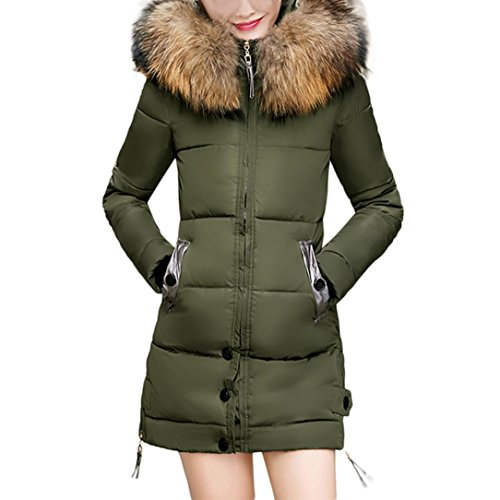 Trim Jersey Gown (Forthery Women's Puffer Jacket with Plush Lined Fur Trim Hood Down Coats (Tag XXXL= US XL, Army Green))