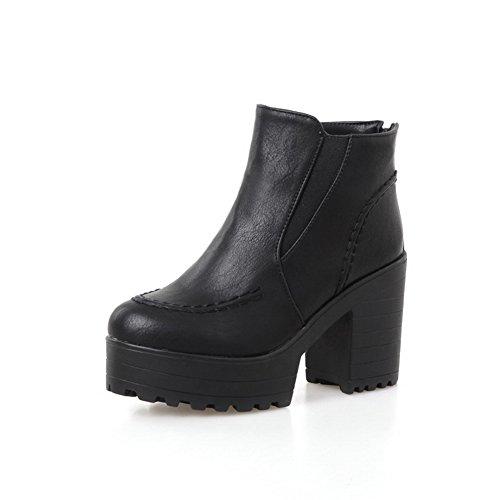 Allhqfashion Donna Tacco A Spillo Tacco Alto Morbido Materiale Ankle Stivali Alti Solidi Nero