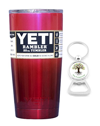 YETI Coolers Custom Powder Coated Stainless Steel 20 Ounce (20oz) (20 oz) Rambler Tumbler Cup Mug with Lid and Bottle Opener Keychain (Pink Red Ombre Fade)