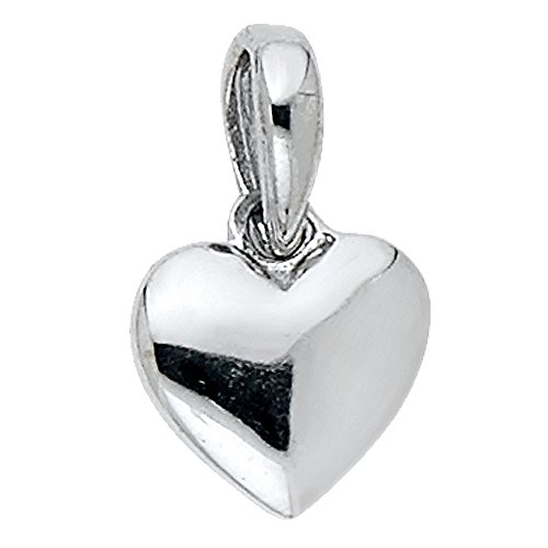 ZenJewels Solid 14k White Gold Small Puffed Heart Pendant Love Charm Polished Genuine Tiny Cute 7 x 8 mm