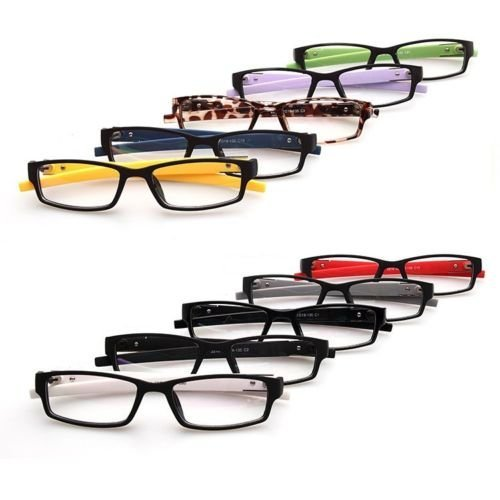 Black with Yellow temples Sport New Eyeglass Frames Optical Eyewear Clear lens Plain computer glasses Rx