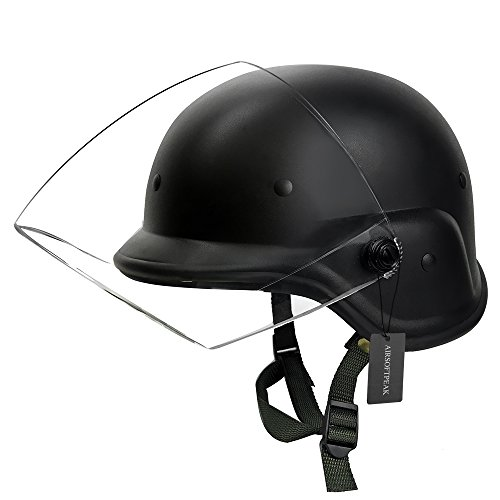 Tactical Military Airsoft M88 PASGT Kelver Swat Helmet with Clear Visor, Black