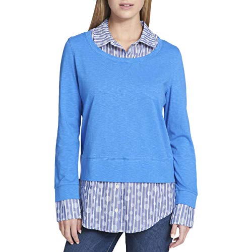 s Layered Collared Blouse Blue M ()