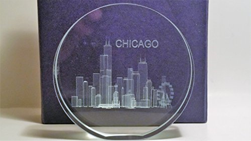 3D Laser Etched Chicago Skyline in a Glass Crystal Paperweight- Chicago Souvenirs