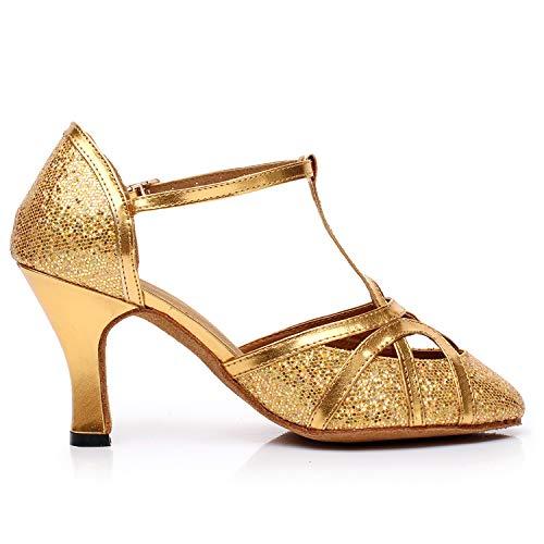 L Ds Donna Lady taglia Ballroom Sandali Fondo 58 Pu fibbia Golden 33 Sera 45 Scarpe Per Flash Morbido Ballo yc Da rvOwrX