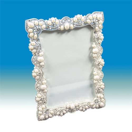 Beautiful Elegant Vintage Handmade Victorian Lace Design with Pearls and Swarovski Crystals Picture Frame.