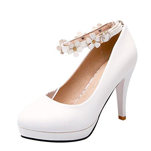 Mee Shoes Damen high heels ankle strap mit Blümchen Pumps Weiß