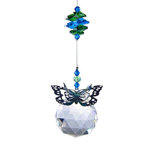 Suncatcher Garden Butterfly - H&D 40 mm Handmade Butterfly Crystal Ball Prism Rainbow Maker Hanging Suncatcher Home Wedding Decoration Favors