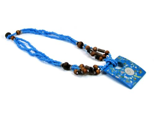 Shell Inlay Resin Rectangular Pendant on Multi Strand Blue Seed Bead Necklace with Wood Beads Rectangular Wood Beads