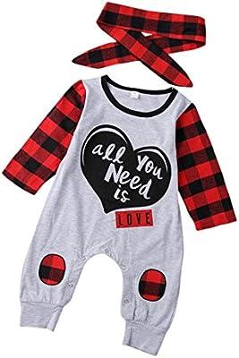 6ae94824 Ropa bebé Infantil Bebés recién Nacidos niñas niños Carta de impresión  Mameluco a Cuadros Mono Trajes. Cargando imágenes.