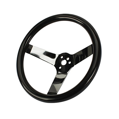 Classic Solid Spoke 12 Inch Black Steering Wheel - No Holes