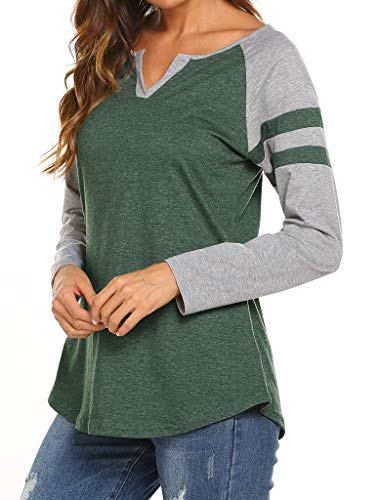Locryz Womens Baseball T-Shirt Plus Size Raglan Shirts Casual Color Block Tops Blouse L Green