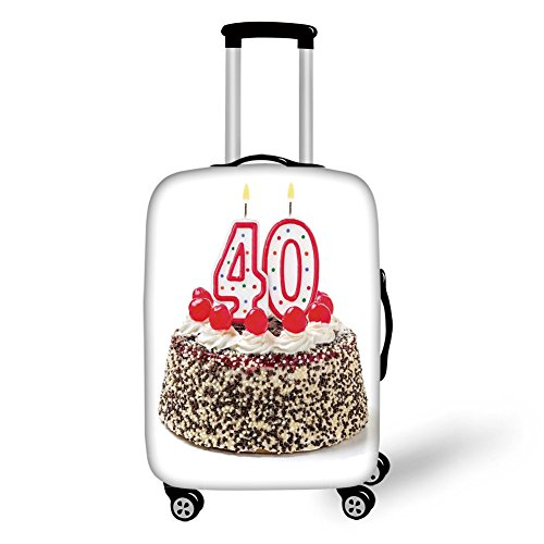 Travel Luggage Cover Suitcase Protector,40th Birthday Decorations,Yummy Desert Sweet Party Cake Burning Number Candles Cherries,Multicolor,for Travel (Cherry Rockford)