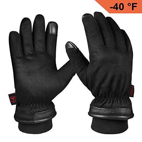 Winter Gloves, Waterproof Glove for Hands Warm, Driving, Motorcycle, Snow Skiing, Chores in Cold Weather - Perfect Fit and Thermal for Men (Large,Black)