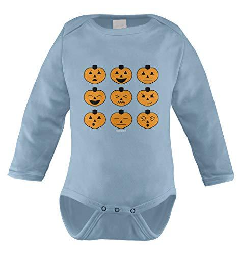 Halloween Pumpkin Icons Infant Long Sleeve Bodysuit (Light Blue, 18 Months)