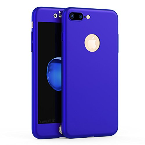 iPhone 7 Plus Case, YamaziHD Full Body Coverage Protection Ultra Slim iPhone7 Plus Cover with Tempered Glass Screen Protector for Apple iPhone 7 Plus 5.5 inch - Royal Blue