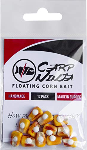 Carp Ninja Floating Corn Bait Classic Handmade Fishing Lures with Real Corn 12 Pack (Best Carp Bait To Use In Spring)