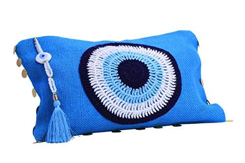 Karens Ege Evil Eye Jute/Burlap Clutch Bag Beach bag Zipper Gift with Crystals and Tassels