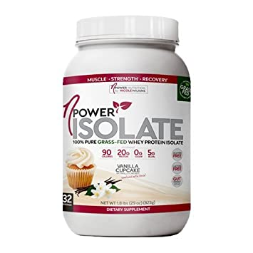 nPower Nutrition 100 Pure Grass Fed Whey Protein Isolate, Enzymes, All Natural Sweeteners Vanilla Cupcake 32 Servings
