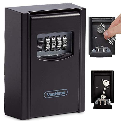 VonHaus Key Lock Box Key Storage 4 Digits Combination Outdoor Key Safe Outside Wall Mounting Kit Weatherproof - Holds 5 Keys, Black