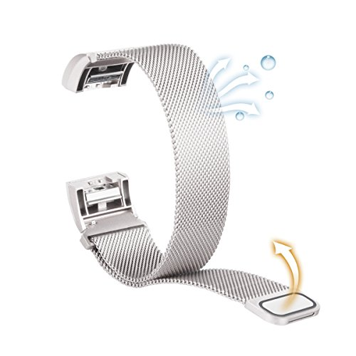 Fitbit Charge 2 Bands, Luxury Milanese Loop Woven Stainless Steel Mesh Closure Bracelet Strap Replacement Wristbands with Strong Magnet Lock for Fitbit Charge 2