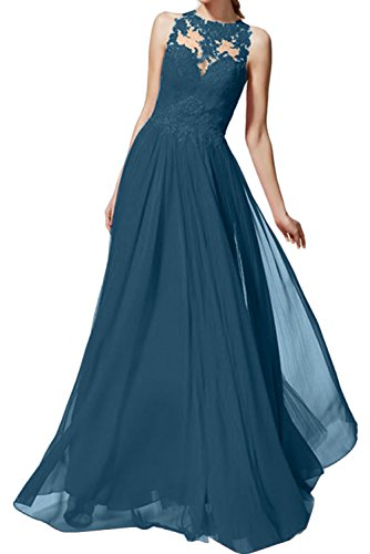 Inkblau Romantisch Ivydressing Damenkleider Abendkleider Bodenlang Chiffon Rot Ballkleider Prinzessin Spitze Promkleider AxRPxv